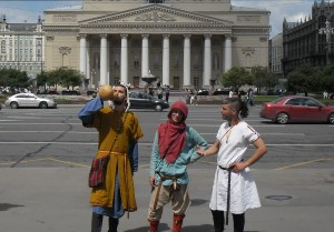 Posing in front of Bolshoi Theatre.