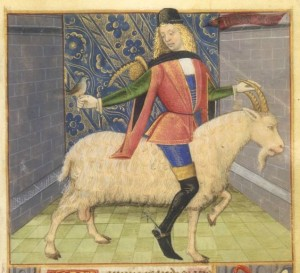 A 15th century goat rider with fashionable medieval tall boots